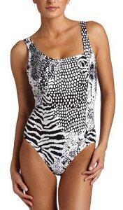 Calvin Klein Asymmetrical Animal Print Swimsuit
