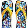 Luxury David Palmer Painted Chipkos Flip Flops | Expensive Shoes Save Rainforests